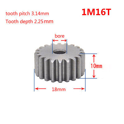1 Mod 16T Spur Gear 45# Steel Pinion Gear Thickness 10mm Outer Dia 18mm x 1Pcs