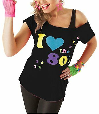I Love The 80's T-Shirt Fancy Dress Retro Outfit Hen Party Top 6016455 Lot