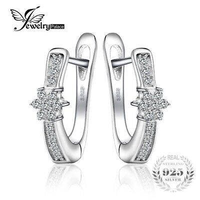 JewelryPalace Flower Cubic Zirconia Anniversary Huggie Earrings 925 Sterling Sil