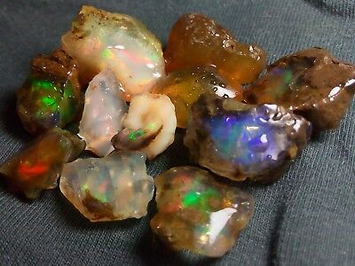 56.5 cts - Beautiful Crystal Opal Rough Ethiopian Multicolor Fire - 11 pieces