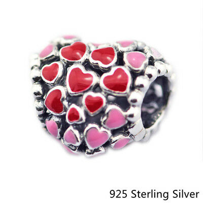 925 Sterling Silver Jewelry Burst of Love Charm, Mixed Enamel Original Beads Fit