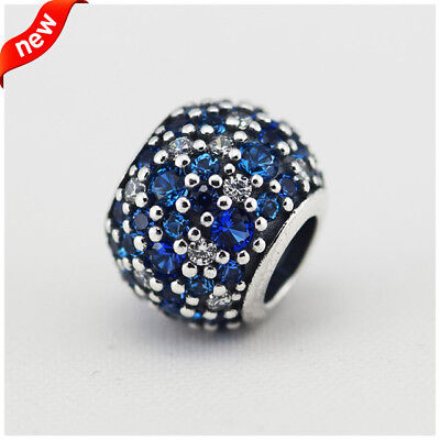 CKK 925 Sterling Silver Jewelry Pave Charms with Mixed Shades of Blue Crystal Be