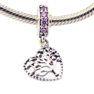 925 Sterling Silver Jewelry Tree of Love Dangle Charm, Mixed Enamel & Multi-Colo