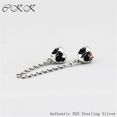 Heart of Minnie Safaty Chain Charm 925 Sterling Silver Mixed Enamel Beads for Je