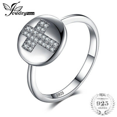 JewelryPalace Fashion 0.11ct Round Cubic Zirconia Cross Motif Ring For Women Fas