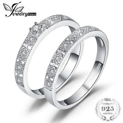 JewelryPalace Two Stack 0.11ct Cubic Zirconia Cocktail Band Eternity Ring 925 St