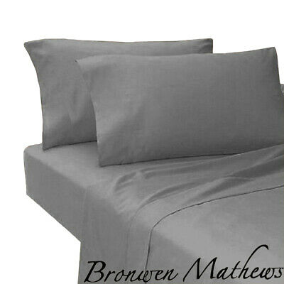 Plain Grey T 200 Egyptian 100 %Cotton Fitted Bed Sheet  King Size and pillows