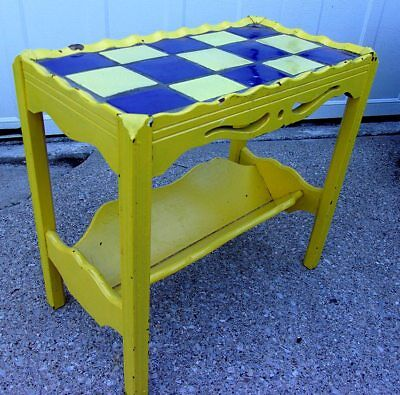 VTG Wood Coffee Table Accent Table Magazine Rack Mosaic Top