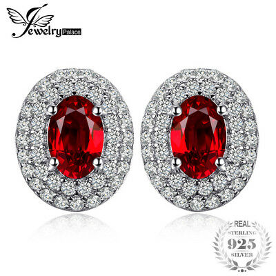 JewelryPalace Classic 1.54ct Natural Red Garnet Halo Stud Earrings Genuine 925 S