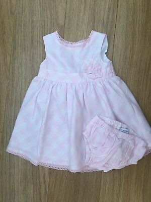 John Lewis Baby Girl Summer Pink Checked Dress & Knickers 3-6 Months Beautiful!