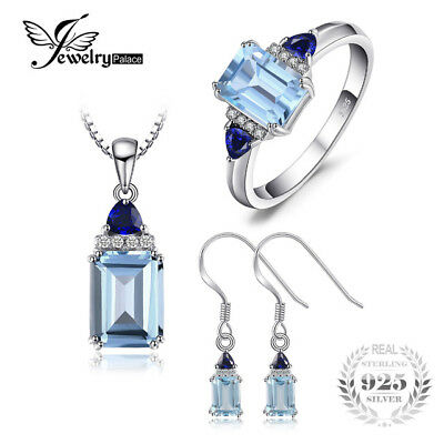 JewelryPalace 5ct Emerald Cut Sky Blue Topaz Created Sapphire Ring Drop Earrings