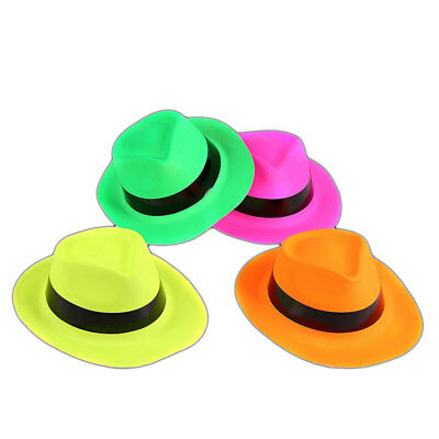 Neon Gangster Party Hats Fancy Dress Bright Hats Bulk Buy
