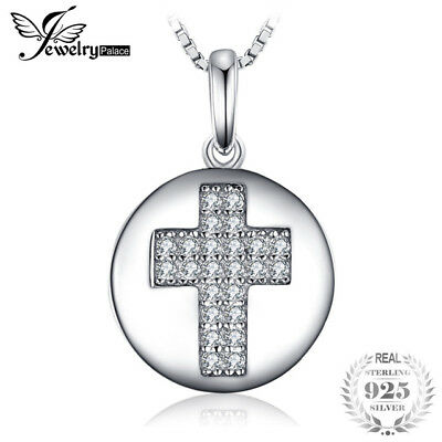 JewelryPalace Fashion 0.11ct Round Cubic Zirconia Cross Motif Pendant Necklace 9