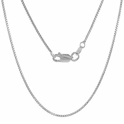 Solid 925 Sterling Silver BOX Chain Thin Necklace New Italy 0.7mm 16 18 20 24""