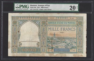 """""""PMG-20 NET Only 1 Graded"""" Extreme Rare 1921 Morocco 1000 Francs P-16a """"0246137"""""""