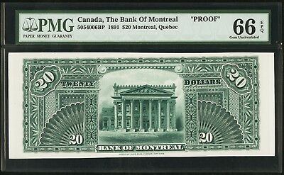 """PMG-66 EPQ"" RARE PROOF 1891 Canada The Bank of Montreal 20 Dollars, 5054006BP"