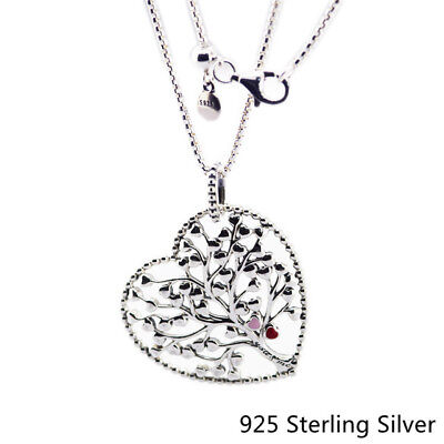 925 Sterling Silver Pendants Tree of Love Necklace, Mixed Enamel Original Charms