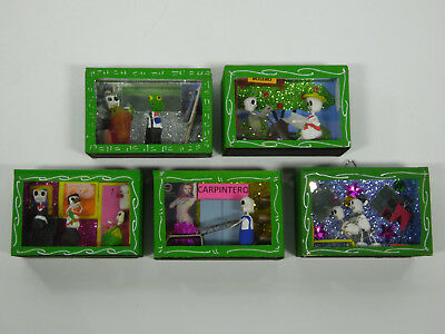 5 SHADOW BOX SET day of the dead nicho lot wholesale mexican handmade folk art
