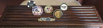 6-Row Challenge Coin Display Stand Rack, Solid Wood, Walnut Finish