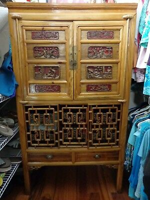 Vintage Carved Chinese  Armoire Cabinet