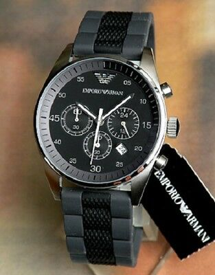 New Genuine Emporio Armani Ar5866  Black & Grey Silicone Rubber Mens Watch