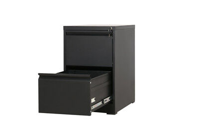2 DRAWER STEEL BLACK LOCKABLE FILING CABINET 62cm deep desk height extension 73