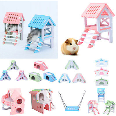 Waterproof Small Pet Hamster Slide Stairs Villa Bedding Sleeping Cage House Nest