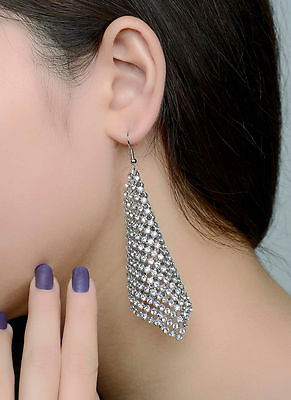 Sparkly Clear White Zircon Stone Crystal Silver Colour Long Drop Dangle Earrings