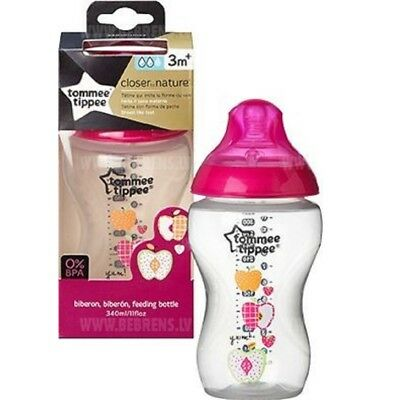 Tommee Tippee Closer to Nature 340ml Bottles Advanced Comfort Soft Pink Feeder