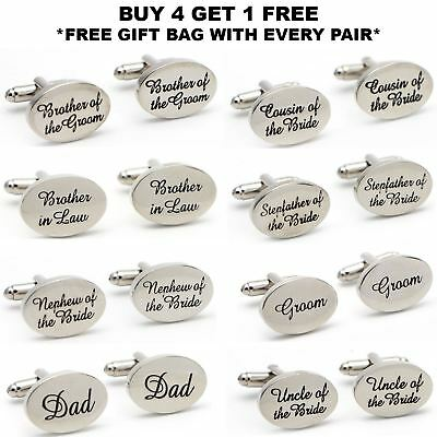 Silver Plated Engraved Personalised Wedding Cufflinks Cuff Links Gift Best Man
