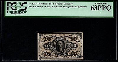 Third 3rd Issue 10 Cents PCGS 63 PPQ Fr.1253 Colby & Spinner Autographed