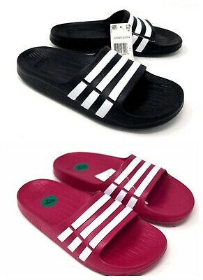 e6e68dcaf Adidas Duramo Kids Slides Boys or Girls Size 11 - 6 Sandals Black White Or  Pink