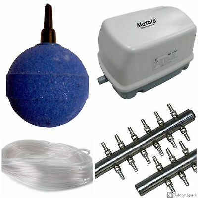 Small Koi Pond Aeration Kit-Includes, Pump, 6-way Manifold,Airline & 6 Airstones