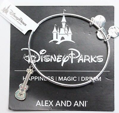 NEW Disney Parks ALEX AND ANI Coco Guitar Charm SILVER Bangle Bracelet