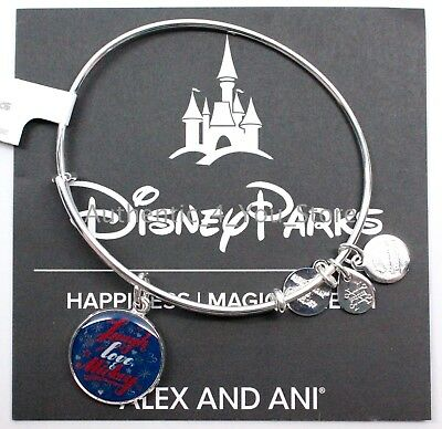 "NEW Disney Parks ALEX AND ANI ""Laugh Love Mickey"" Charm SILVER Bangle Bracelet"