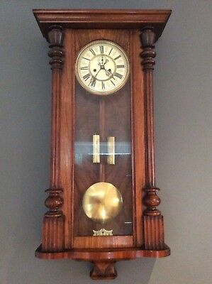 Large Late 19Th C.vienna Regulator Wall Clock With Twin Weights  90Cm