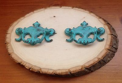 359 Vintage Chippendale Turquoise Drawer Handles Set Of 2