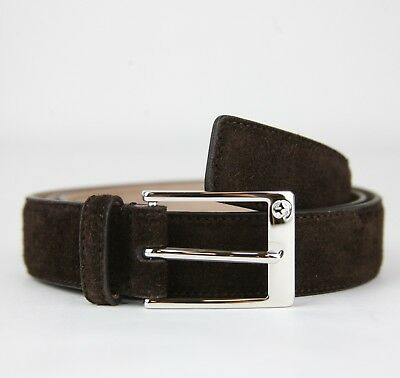 bc51468947e Gucci Men s Brown Suede Leather Belt with Square Silver Buckle 345658 CMA0N  2140