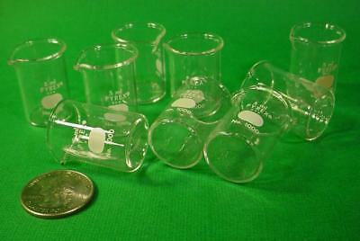 UNIQUE! BOXED LOT OF 9 VINTAGE PYREX 5 ml GLASS BEAKERS NO. 1000 CORNING