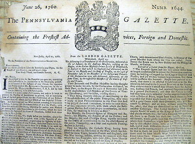 1760 Pennsylvania Gazette newspaper BATTLE OF QUEBEC Canada FRENCH & INDIAN WAR