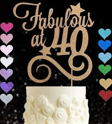 Fabulous at 40 glitter cake topper birthday fortieth party 40th any colour 40s