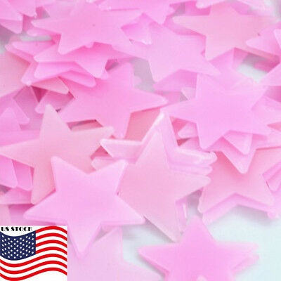 LOT 100pcs Pink 3D Stars Glow In The Dark Luminous Wall Stickers Kids Bedroom