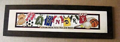 TEAM WORK GETS JOB DONE Sports LAUNDRY Room wooden wall art decor sign picture X