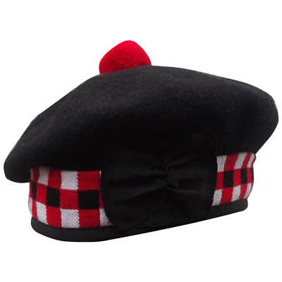 4d5f77ce73b New Scottish Black Wool Blended Balmoral plain   Dice Hat With Red Pompom  on Top