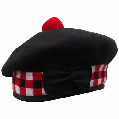 New Scottish Black Wool Blended Balmoral plain & Dice Hat With Red Pompom on Top