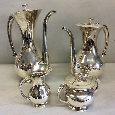 Japanese K Uyeda 4 Piece 950 Sterling Silver Tea/Coffee Set Mid Century Modern