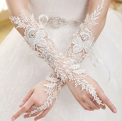 White/Ivory Lace Bridal Gloves Fingerless Wedding Accessory Bridal Party Gloves