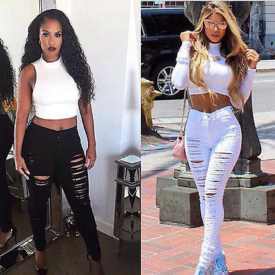 AU New Women Skinny Ripped Holes Jeans Pants High Waist Stretch Pencil Trousers