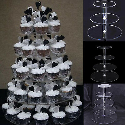 LAYERS ACRYLIC CUPCAKE Display Stand Serving Table Platter Rack ...