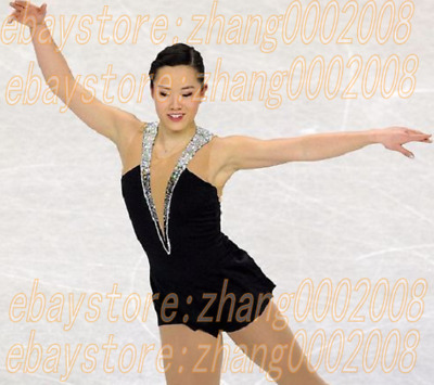 Ice skating dress.Black Competition Figure skating outfit with stunning neckline